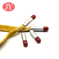 China double color transfer plastic aglets fashion trancksuit drawstring cords sports shoelaces plastic tipping wholesale
