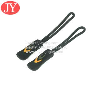 China 3d embossed logo PVC /RUBBER /silicon zipper pull black color zipper tag for handbags wholesale