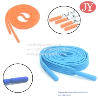 China JiaYang Custom Elastic Cotton Rope Flat/Round Shoelaces Injection Tpu Plastic Aglets cap lace injected tips wholesale