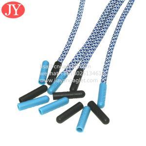 China double print logo string plastic aglet Plastic Tips fashionable polyester round reflective shoelaces wholesale