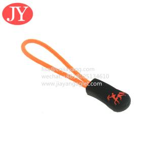 China plastic string zipper puller for garments custom logo and size rubber zip puller wholesale