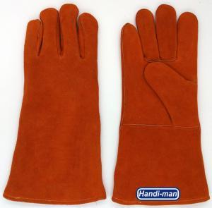 14 inch Split Leather Safety Welding Gloves Orange color