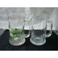 China clear glass beer mugs, glass water cup with decal logo on sale