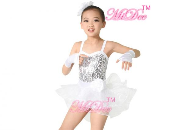 Quality White Ballet Dance Costumes Camisole Biketard Sequin Dress Spandex / Polyester for sale