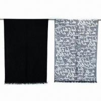 China Spun Silk Letter Pattern Shawls, Made of Acrylic, Available in Various Colors on sale