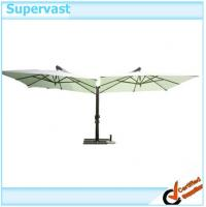 China Twin Side Cantilever Offset Patio Umbrella , Sunshade Wood Outdoor Hanging Umbrella wholesale