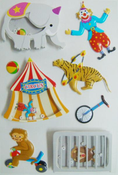 Quality Circus Printed Custom 3d Stickers , Fashion Kids Car Stickers 80 X 120 Mm for sale