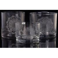 Buy cheap Laser Engraved Etching Logo Decorative Glass Candle Holders , Glass Cylinder Candle Holder from wholesalers