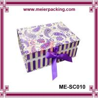 Custom printed comestic paper box, clamshell closure paper box with ribbon ME-SC010