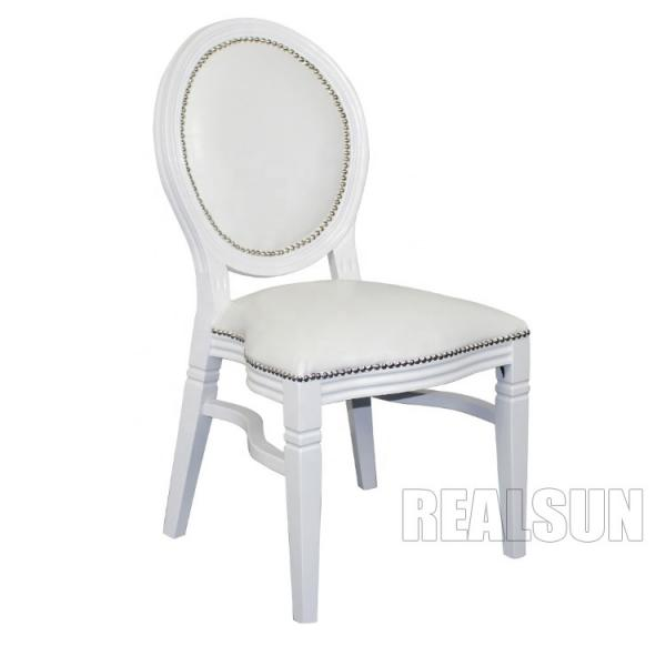 Quality Hotel Lobby Wedding Hall Chairs Bride And Groom Stackable White Table for sale