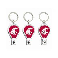 Metal Nail Clipper Bottle Opener Keychain With Collegiate Sport Team Logos