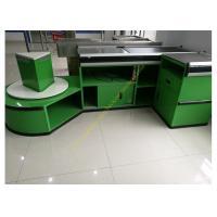 China Checkout Counter With Sensor Conveyor Belt / Cashier Desk Stand For Store wholesale
