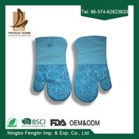 China Heat Resistant Useful Home Kitchen Oven Mitts With Silicone Coated Bbq Cooking Gloves wholesale