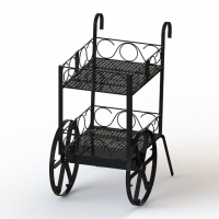 China Wine Bottles Cart Food Display Stands With Metal Wire Shelves Two Layers Promotion Wine Cart on sale