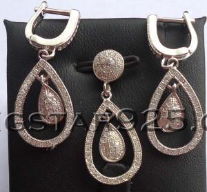 China popular micro setting silver jewelry set factory wholesale