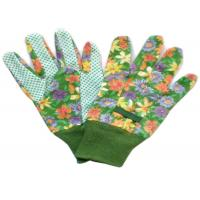 China Cotton Canvas Good Gardening Gloves , Protective Work Gloves With Green Knit Wrist wholesale