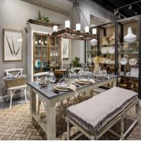 China American style home furnishing exhibition hall display furniture in Ash wood tall cabinet and wrought metal iron racks on sale