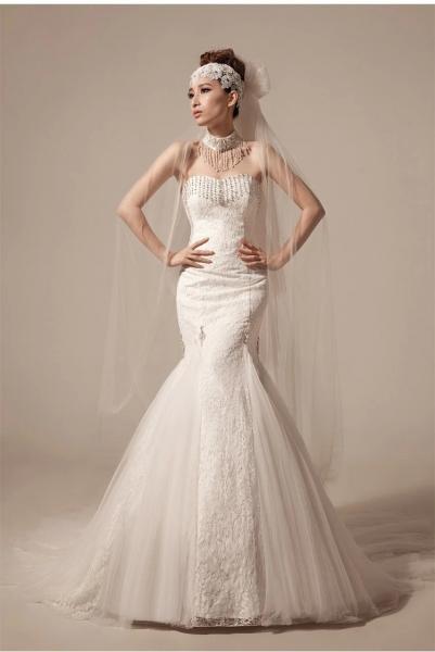 image mermaid tail wedding dress heart shaped wedding dress Beaded mermaid Wedding Dresses