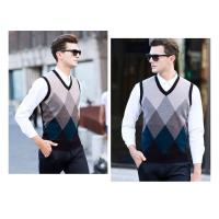 China Plaid Pattern Custom Mens Knit Sweater , V Neck Sleeveless Sweater Vest wholesale