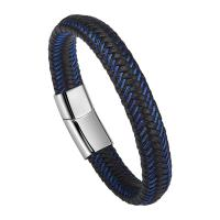 China Braided Leather Bracelets For Men,Leather Bracelets Fashion Magnetic Clasp 7.5-8.5 Inch wholesale