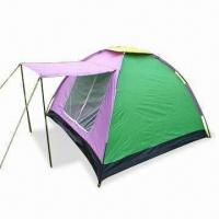 China Camping Tent with 180T Polyester Silver-coated Fly Sheet, Suitable for Three-person wholesale