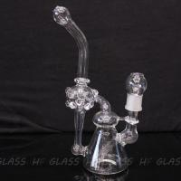 """China New double recycler glass water pipe glass pipe glass bong 10"""" size with 18.8mm joint wholesale"""