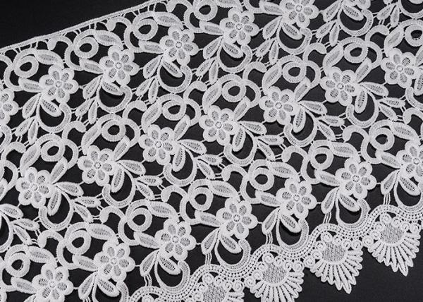 Quality White Flower Clothing Label Water Soluble Lace Trim For Garment Comfortable for sale