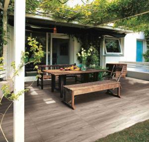 China Grey Outdoor Wood Effect Porcelain Tiles / Wood Look Ceramic Floor Tile wholesale