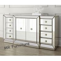 59 Inches Mirrored Buffet Cabinet , Fashionable Mirrored Buffet And Sideboards