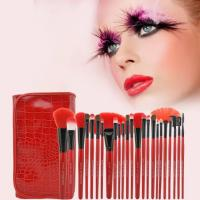 China Red Crocodile Cosmetic Brush Set Synthetic Hair Wood Handle Material Face Usage wholesale