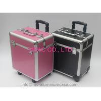 Pink Trolley Aluminum Beauty Box With Wheels And Large Storage Space