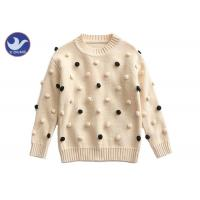 China Pompom Ball Decoration Girls Pullover Sweaters Cute Cotton Mock Neck Knit Jumper wholesale
