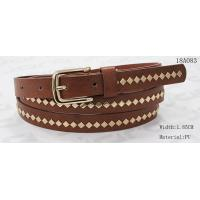China Polished Patterns Womens Fashion Belts With Gold Buckle And Square Metal Studs 1.85cm Width wholesale