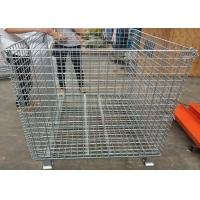 China Foldable Galvanized Welded Metal Basket Wire Storage Cage For Warehouse wholesale
