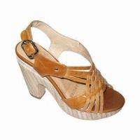 China Ladies' Leather High-heel Sandal with Rubber Outsole, Comes in Various Colors on sale