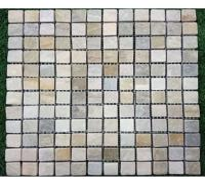 China Natural beige yellow slate limestone floor and wall mosaic tiles paving stone mosaics sheets 305x305mm wholesale