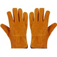 China Fireproof Protective Work Gloves / Welding Safety Gloves Brown Color Absorb Sweat on sale