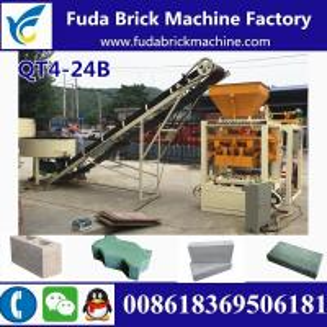 China QT4-24B semi automatic concrete hollow block making machine production line wholesale