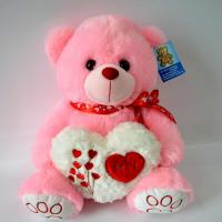 Cute Plush Toys for baby, Valentine's Day Present, Peachpuff Bear Plush with Heart.