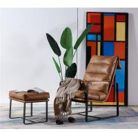 China Thick Metal Frame Leather Leisure Chair Soft Foam Feather Filler Cushion For Small Space on sale