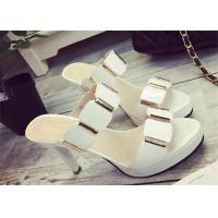 China Slip On High Heels Sandals , Ladies Dress Sandals With Metal Ornament Strap Upper on sale