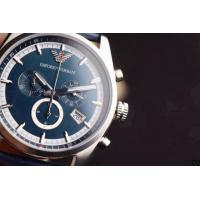 China Armani Watch AR1652 EMPORIO ARMANI WAGIANNI MENS BLUE LEATHER CHRONOGRAPH WATCH CODE:AR165 wholesale