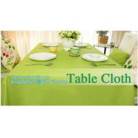 China Disposable tnt pp spunbond non woven table cloth, modern luxury restaurant dining used non woven long teal pvc plastic t wholesale