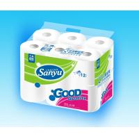 90g White Recycle Tissue Paper Roll of Small Dots Embossed , 12roll per bag