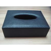 China Silk screen printing or Primary colour embossed custom Logo Hotel PU Leather tissue box wholesale
