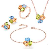 Round Stone Shape 925 Silver Gemstone Jewelry Chain Necklace Bracelet Ring Earrings