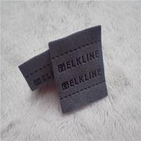 China Color Grey Back Woven Clothing Labels High Frequency Micro Fiber With Sewing Line Patches wholesale