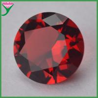 China wholesale price dark red ruby color Round brilliant cut glass gemstone for Jewelry on sale