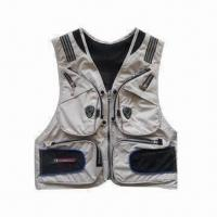 China Fishing Vest with Polyester Mesh Lining, Various Colors and Sizes are Available wholesale