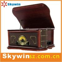 China 2014 portable  Best Retro solid wooden 7 in 1 turntable player  with cassette /radio/USB wholesale